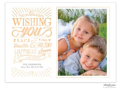 Wishing You Peace Foil Pressed Holiday Flat Photo Card