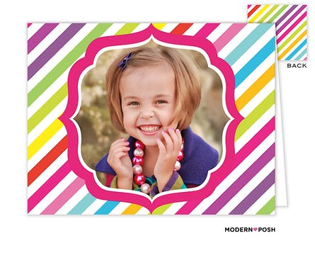 Rainbow Posh Pink Digital Photo Folded Note