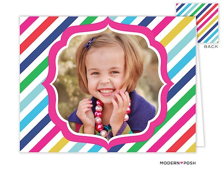 Rainbow Posh Navy Digital Photo Folded Note