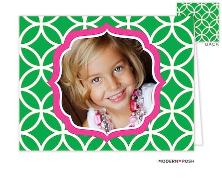 Lattice Posh Green Digital Photo Folded Note