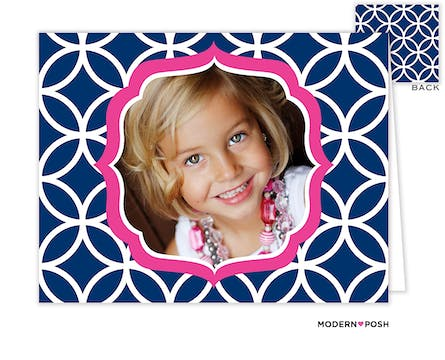 Lattice Posh Navy Digital Photo Folded Note