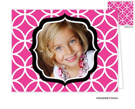 Lattice Posh Pink Digital Photo Folded Note