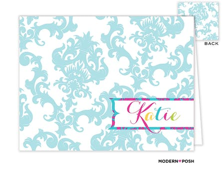 Blue Patterned Posh Folded Note