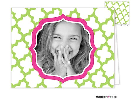 Green Trellis Posh Digital Photo Folded Note