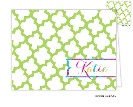 Green Trellis Posh Folded Note