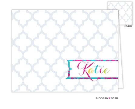 Grey Trellis Posh Folded Note