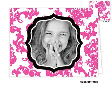 Pink Patterned Posh Digital Photo Folded Note