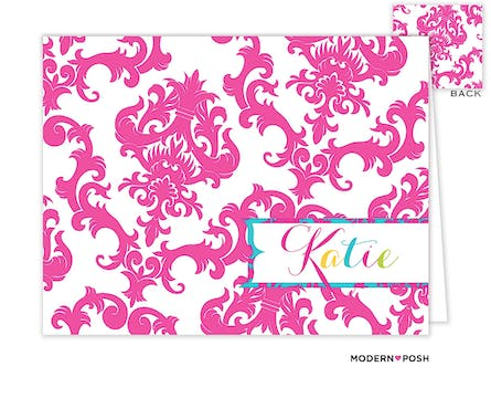 Pink Patterned Posh Folded Note