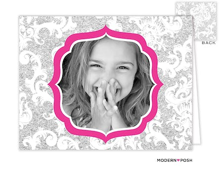 Silver Patterned Posh Digital Photo Folded Note