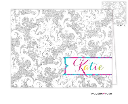 Silver Patterned Posh Folded Note