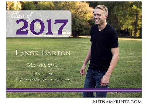 Big Picture Purple Flat Photo Graduation Announcement