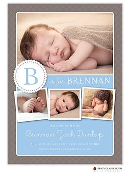 Sweetest Initial Photo Birth Announcement