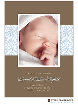 Damask Dream - Blue Boy Photo Birth Announcement