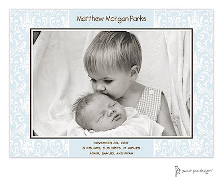 Damask Blue Print & Apply Flat Photo Birth Announcement