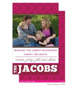 Pink Pattern and Stripe Flat Photo Card