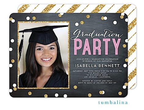 Graduation Party Confetti Pink Photo Invitation