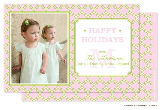 Pink and Lime Quatrefoil Flat Photo Card