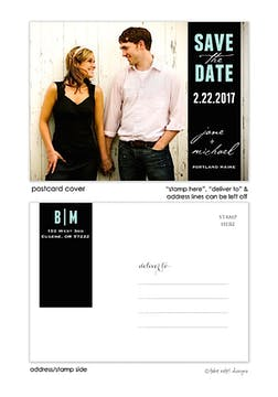 Black Wrap Tag Save The Date Postcard