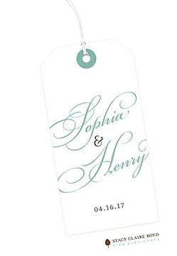 White with Ornate Script Hanging Gift Tag