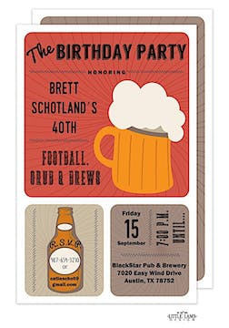 Football, Grub, and Brews Invitation