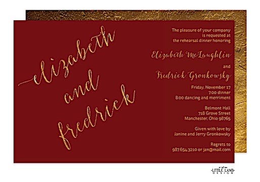 Burgundy faux glitter names Invitation