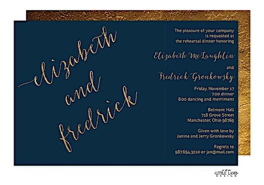 Navy faux glitter names Invitation