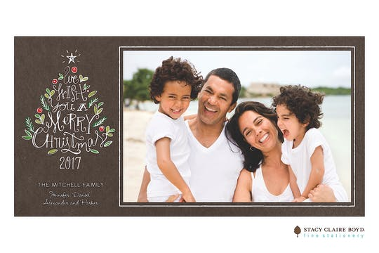 Chalk Tree Wishes Print & Apply Holiday Flat Photo Card