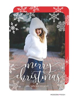 Modern Christmas Snowfall Holiday Photo Card