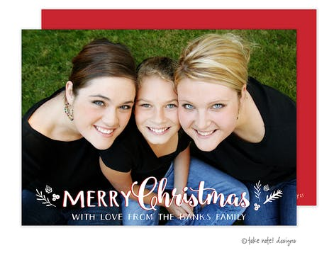 Christmas Sprig Overlay Holiday Photo Card