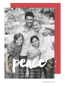 Peace Vines Overlay Holiday Photo Card