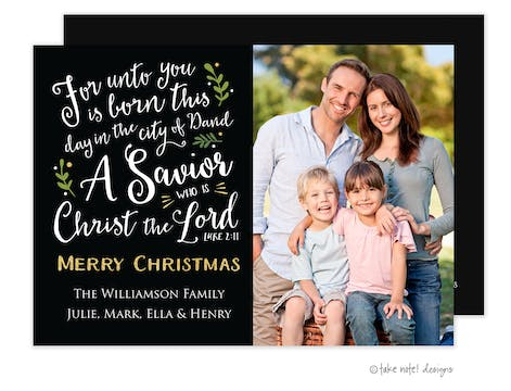 Luke 2:11 Christmas Holiday Photo Card