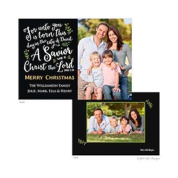 Luke 2:11 Christmas Holiday Photo Card