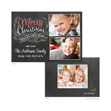 Chalk Script Christmas Holiday Photo Card