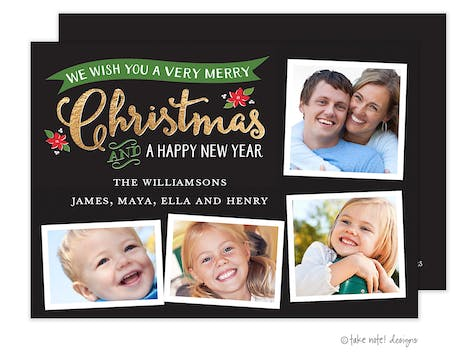 Golden Banner Christmas Holiday Photo Card