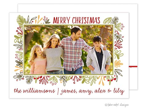 Vines Frame Christmas Holiday Photo Card