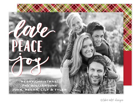 Love Peace Joy  Holiday Photo Card