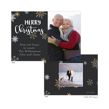 Golden Snowflakes Christmas Joy Holiday Photo Card