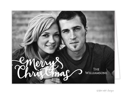 Christmas Casual Script Overlay Folded Holiday Photo Card