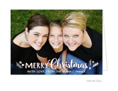 Christmas Sprig Overlay Folded Holiday Photo Card