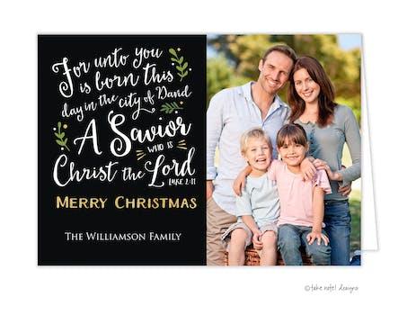 Luke 2:11 Christmas Folded Holiday Photo Card