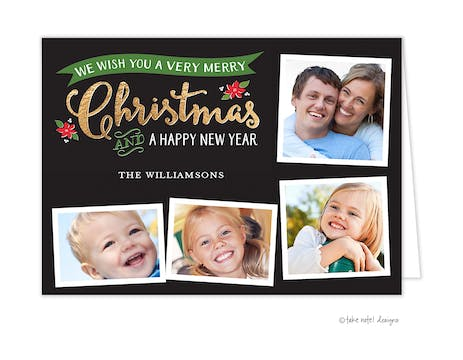 Golden Banner Christmas Folded Holiday Photo Card