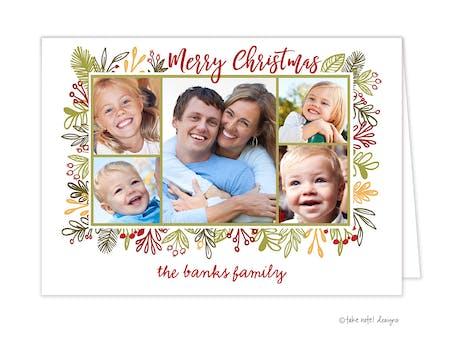 Vines Frame Christmas Folded Holiday Photo Card