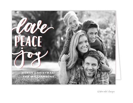 Love Peace Joy  Folded Holiday Photo Card