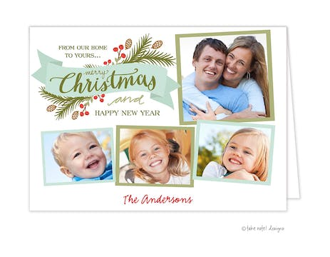 Christmas Eve Sprig Banner Folded Holiday Photo Card