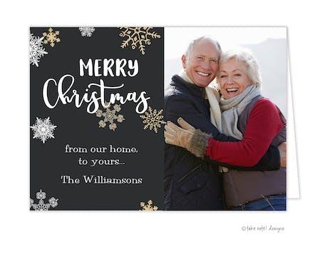 Golden Snowflakes Christmas Joy Folded Holiday Photo Card