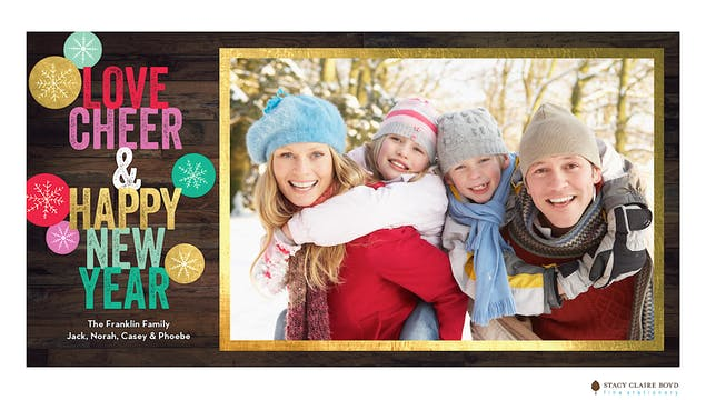 New Year Cheer Print & Apply Holiday Photo Card