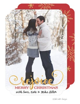 Rejoice Snowflake  Holiday Photo Card