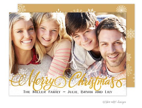 Gold Foil Christmas Snowflakes Foil Pressed Holiday Photo Card (TND)