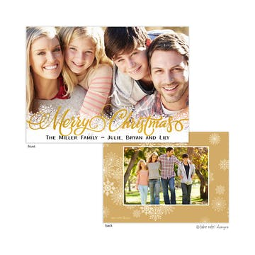 Gold Foil Christmas Snowflakes Foil Pressed Holiday Photo Card (with photo on back)