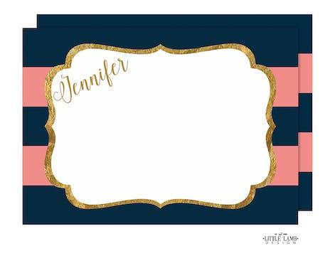 Pink & Navy Glitter Frame Flat Note
